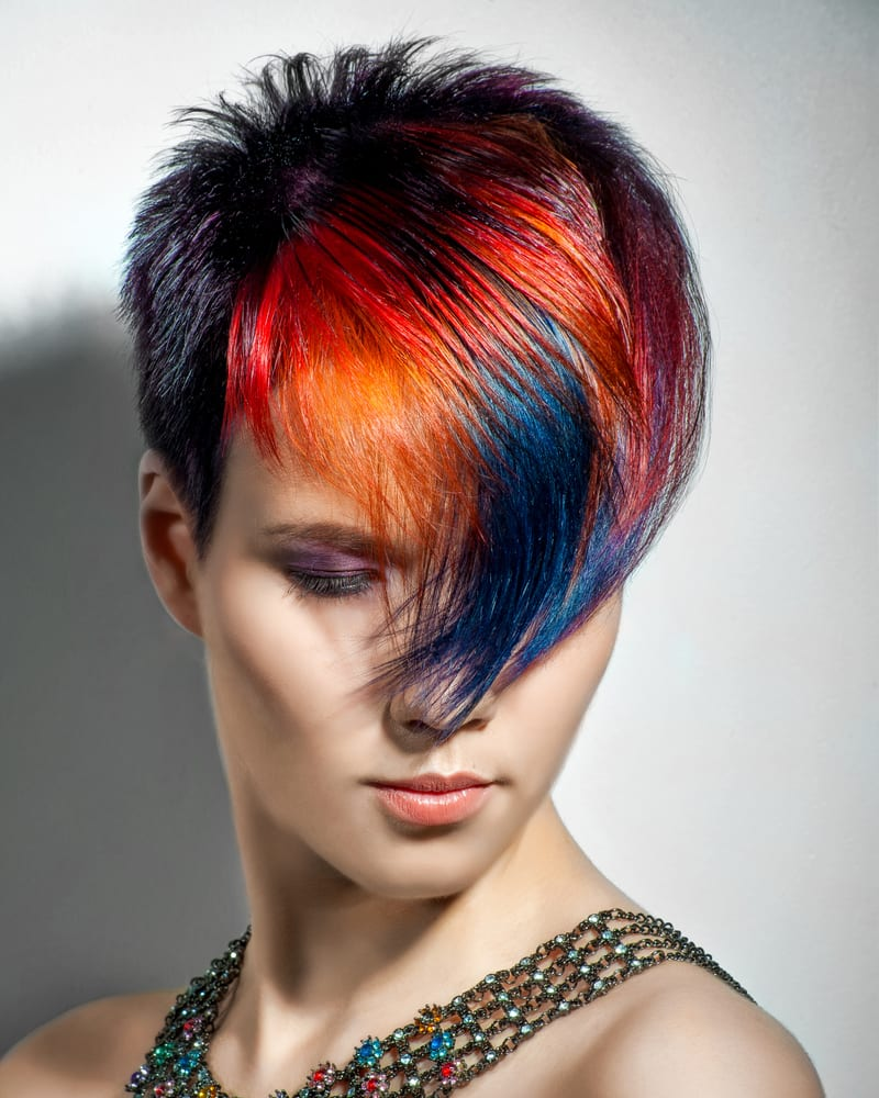 portrait of a beautiful girl with a karen haircut that's dyed hair, professional hair coloring