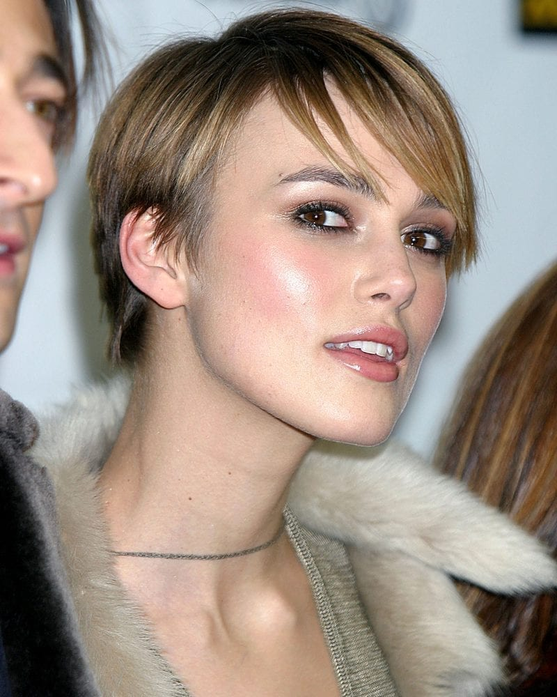 Keira Knightley has a pixie cut and arrives for the 2005 SUNDANCE FILM FESTIVAL premiere of THE JACKET at the Eccles Center Theatre