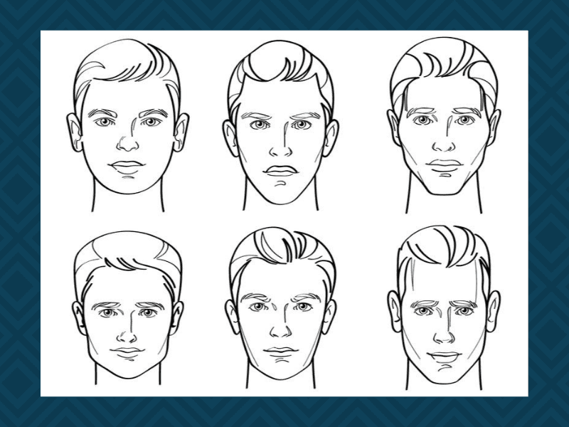 Image of six men with different hairstyles for a piece on haircuts for round faces men