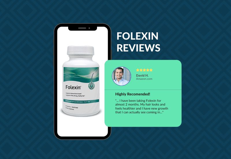 For a piece on Folexin reviews, a phone with a bottle of the product sits next to a graphical version of a real user review