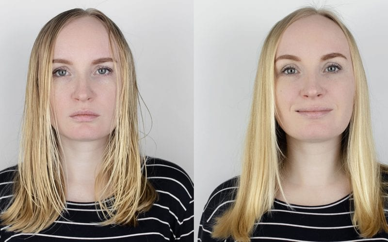 Before and after photo of a woman who used the best shampoo for oily hair in her daily routine