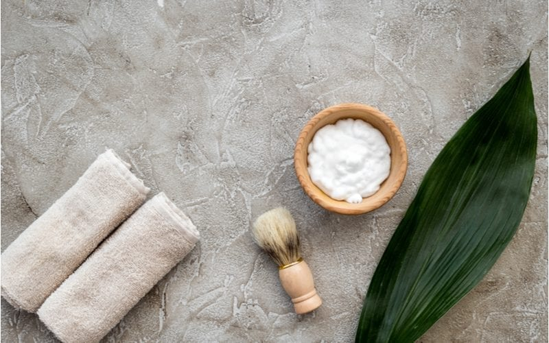 For a piece on the best shaving cream for men, a bowl of the stuff sitting next to a brush and a towel and aloe plant