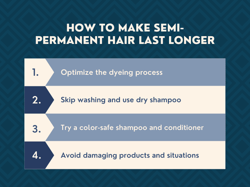 Graphic showing the 4 ways to make semi-permanent hair color last longer
