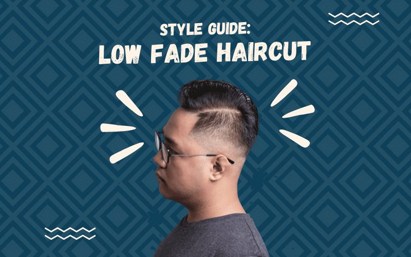 Image titled Style Guide Low Fade Haircut featuring a cutout of a man with such a style floating on a blue square patterned background