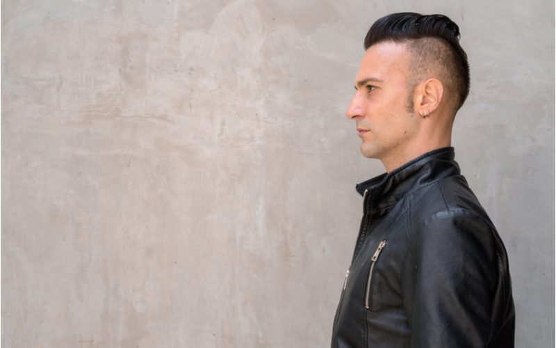 'Hawkadour pompadour haircut on a guy in a black leather jacket
